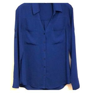 Royal blue Express Portofino slim fit shirt